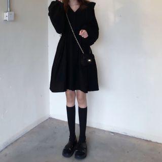 Long-sleeve   Chiffon   Black   Dress   Mini   Size   One