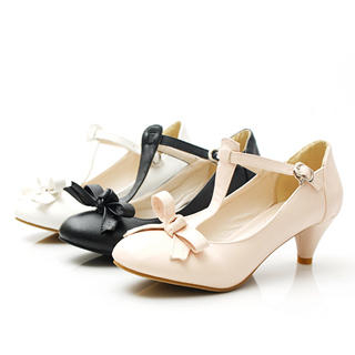 KAWO Bow T-Bar Kitten-Heels 1022788274 | Asian Shoes