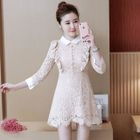 Collared Long-Sleeve Lace Dress 1596