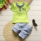 Kids Set: Short-Sleeve Top + Pinstriped Shorts 1596