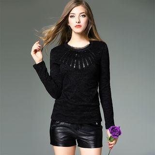 Faux Leather Applique Long-Sleeve Lace Top 1056247897