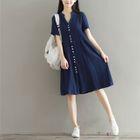 Split-neck Short-Sleeve Dress 1596