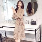 Tie-Waist Long-Sleeve Lace Dress 1596