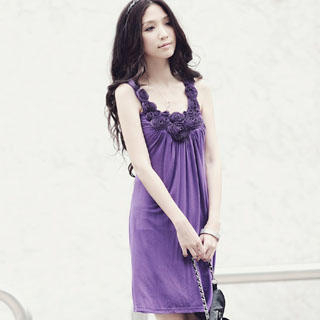 Buy Melissa Sleeveless Rosette Cocktail Dress Purple – One Size 1022973016