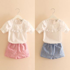 Kids Set: Frill Trim Short Sleeve Top + Plaid Shorts 1596