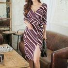 Striped Tie-Waist A-Line Dress 1596