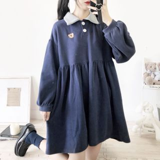Pullover   Dress   Polo   Navy   Mini   Blue   Size   One