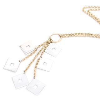Image For 18K White & Yellow Gold Dangling Squares Necklace