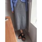 Band-Waist Checked Long Skirt 1596
