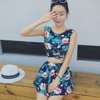 Set: Floral Print Tankini + Swim Skirt 1596