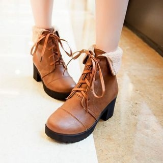 Faux Leather Fleece-lined Lace Up Ankle Boots