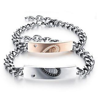 Image of Couple Matching Heart Bracelet