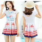 Set: Printed Short-Sleeve Swimdress + Swim Shorts 1596