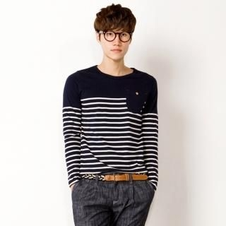 Pocket-Accent Striped T-Shirt