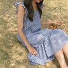 Sleeveless Ruffle-Trim Check Dress 1596
