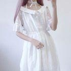 Set: Short-Sleeve A-Line Lace Dress + Strappy Dress 1596