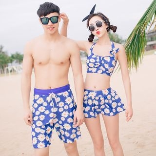 Couple Matching Set: Floral Swim Top + Swim Bottom + Swim Skirt / Floral Swim Shorts 1050394499