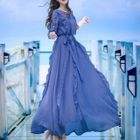 Frill Trim Chiffon Dress 1596