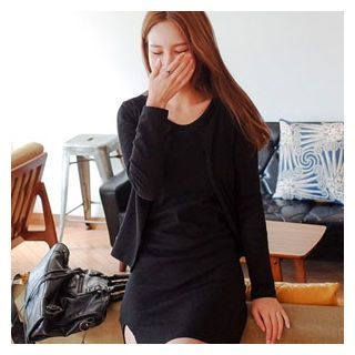 Set: Open-Front Cardigan + Ribbed Minidress 1061679785