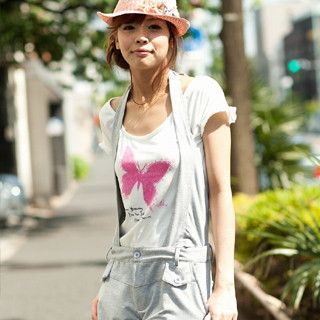 Picture of ageha@shibuya Butterfly Print Frill-Trim T-Shirt Off-White - One Size 1022589676 (ageha@shibuya Tees, Womens Tees, Japan Tees, Print / Logo Shirts)
