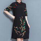 Floral Print Elbow Sleeve Mandarin Collar Dress 1596
