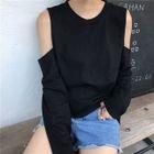 Long-Sleeve Cutout Shoulder Top 1596