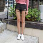 Distressed-Hem Cotton Shorts 1596