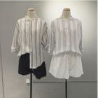 Pinstriped Stand-collar Elbow-Sleeve Linen Cotton Blouse 1596