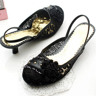 Picture of KAWO Flower-Accent Lace Kitten-Heels 1022775066 (Other Shoes, KAWO Shoes, China Shoes, Womens Shoes, Other Womens Shoes)