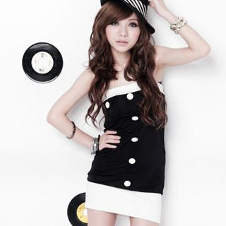 Picture of VeJanie Color-Block Buttoned Tube Dress 1022986661 (VeJanie Dresses, Womens Dresses, Taiwan Dresses)