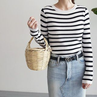 Long-Sleeve Striped Ribbed Knit Top 1059757696