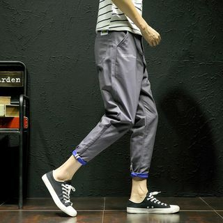 Lettering Cropped Pants