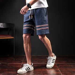 Image of Applique Drawstring Shorts