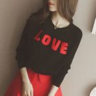 Letter Applique Long Sleeve Knit Top 1596