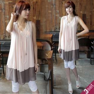 Buy IT GIRL STYLE Set: Sleeveless Chiffon Dress + Leggings + Necklace 1022597581