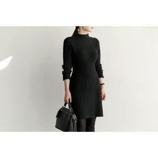 Mock-Neck Ribbed Knit Dress 1055052945