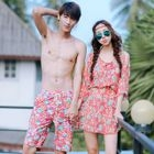 Couple Matching Floral Print Bikini + Cover-up / Swim Shorts 1596