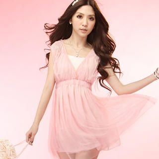 Buy Tokyo Fashion Sleeveless Rhinestone V-Neck Tulle Dress 1022996182