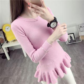 Ruffle Hem Ribbed Sweater 1052762442