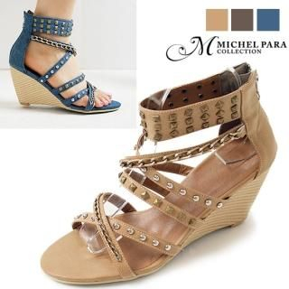 Buy MICHEL PARA COLLECTION Studded Wedge Sandals 1022954255