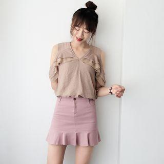 Ruffle Hem Mini Skirt 1060581230