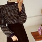 Lace-Trim Tweed Top 1596