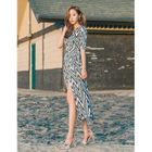 Surplice-Wrap Zigzag-Pattern Maxi Dress 1596