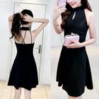 Sleeveless Open Back A-line Dress 1596