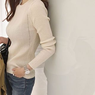 Round-Neck Ribbed Knit Top 1053112601