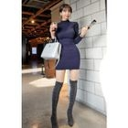 Mock-Neck Ribbed Dress 1596