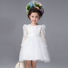 Kids Lace Panel Long-Sleeve Tulle Dress 1596