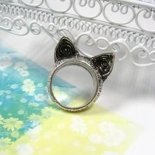 Cat Ears Ring Silver - One Size