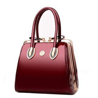 Faux Patent Leather Handbag 1062377456