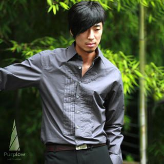 Picture of Purplow Front Pleated Long Sleeve in Charcoal 1004594734 (Purplow, Mens Tees, Korea)